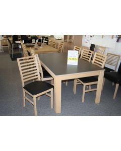 Spisebord i grå laminat + 6 stole bøg sæbe