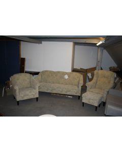 Stil stue 3pers. høj og lav stol inkl. puff blomstret stof
